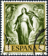 Stamp Printed By Spain, Shows The Virgin Of The Lanterns By Romero De Torres