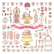 Vector Royal Dishes, Tableware Tea Party Concept