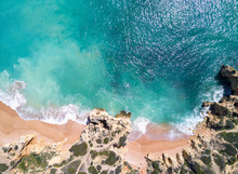 Aerial View Of Tropical Sandy Beach And Ocean With Turquoise Water.