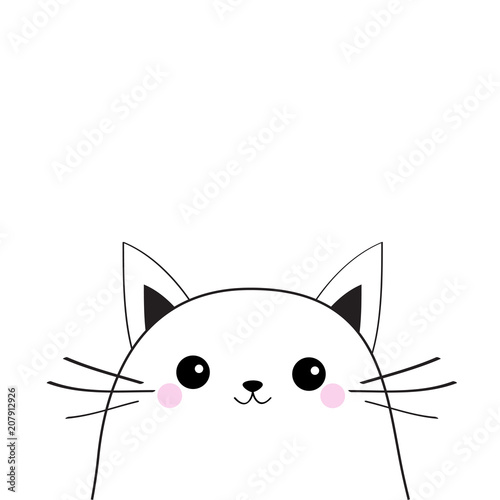 White Cat Face Contour Silhouette Kawaii Animal Cute Cartoon