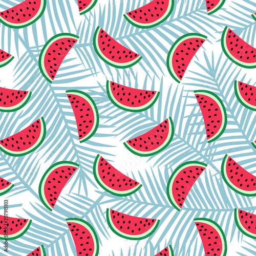Cotton fabric slice of red watermelon on a light blue palm leaves background pattern summer sweet fruit tropical exotic hawaii seamless vector