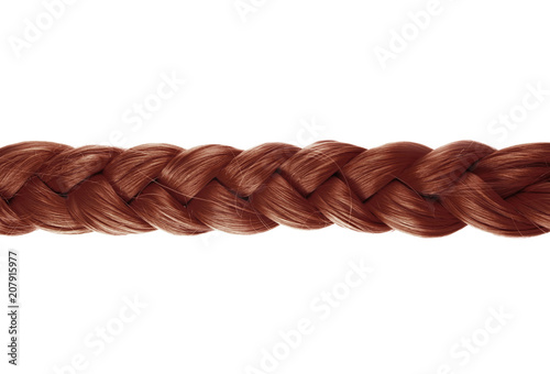 Valokuva  blond plait or braid of brown hair on white background