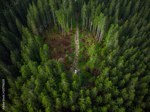 Valokuva Off road car adventure on forest road, drone view