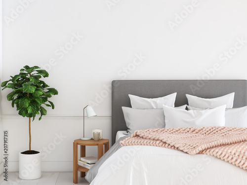 new modern bedroom in a apartment. 3d rendering Canvas Print