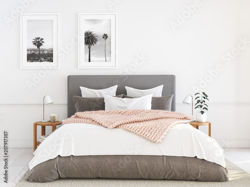 Photo  new modern bedroom in a apartment. 3d rendering