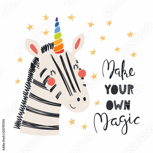 In de dag Illustraties Hand drawn vector illustration of a cute funny zebra with a unicorn horn, lettering quote Make your own magic. Isolated objects. Scandinavian style flat design. Concept for children print.