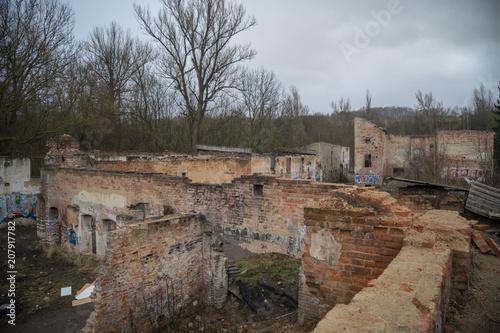 Foto op Canvas Oude verlaten gebouwen Abandoned Factory, Prague, Czech Republic.