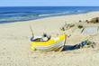 Fishing boat on Baltic Beach in Piaski near Krynica Morska, Poland