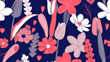 Floral Seamless Pattern, Hand Drawn Flowers And Plants In Blue And Red Tones