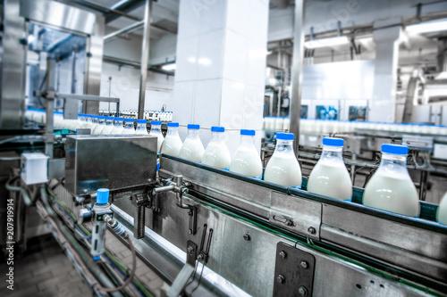 Fotografía  Milk production at factory