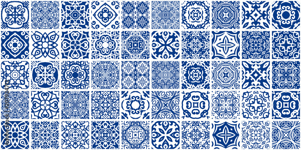 Fototapety, obrazy: Blue Tiles Bundle