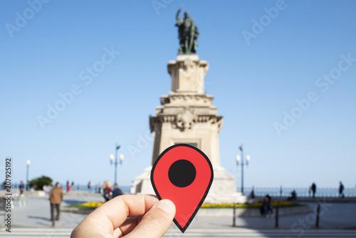 Foto op Plexiglas Europese Plekken red marker in Rambla Nova street, Tarragona, Spain
