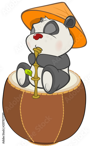 Papiers peints Chambre bébé Illustration of a Cute Panda. Cartoon Character