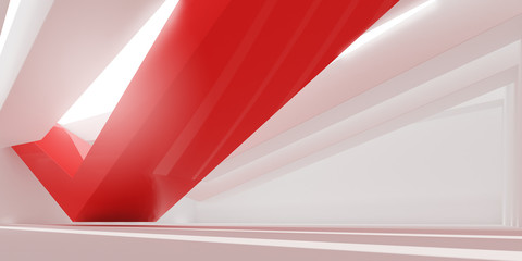 3D stimulate of white interior space and red line with sun light cast the shadow on the wall and floor,Perspective of minimal design architecture,3d rendering