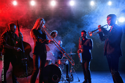 Jazz band performs at the club Canvas Print