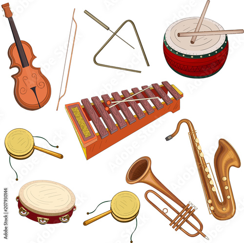 Musical instruments isolated on white. Canvas Print