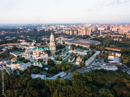 Foto op Plexiglas Kiev Aerial top view of Kiev Pechersk Lavra churches on hills from above, cityscape of Kyiv city