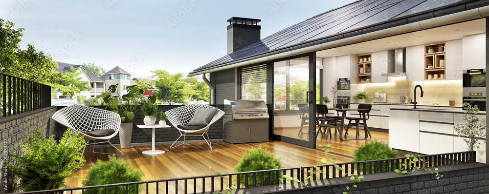 Fototapety, obrazy: Modern house with terrace
