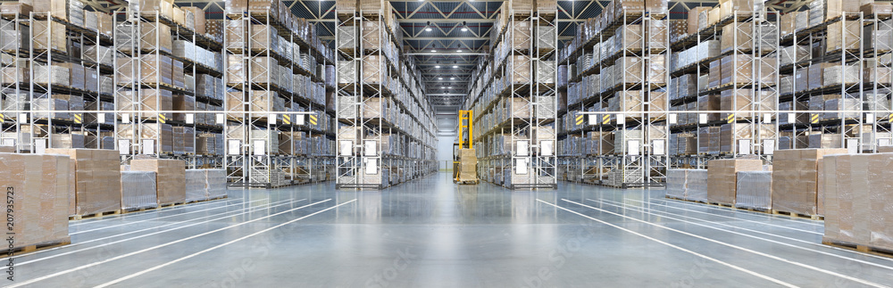 Fototapety, obrazy: Huge distribution warehouse with high shelves