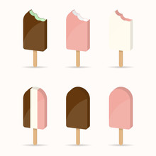 Set Ice Cream, Ice Lolly. Vect...