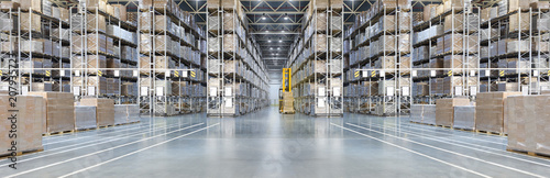 Fotografía  Huge distribution warehouse with high shelves