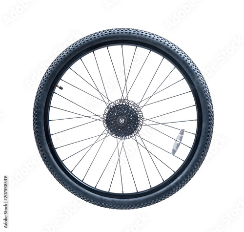 Fotografía  bicycle wheel of mountain bike.