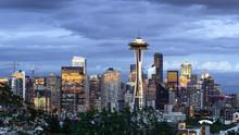 Seattle Downtown Skyline Buildings Evening