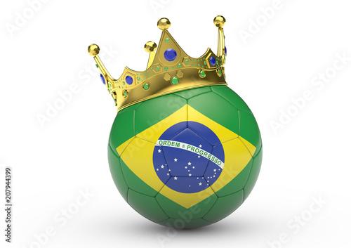 Fotografie, Tablou  Fußball mit Brasilien-Flagge und Krone, 3D-Rendering