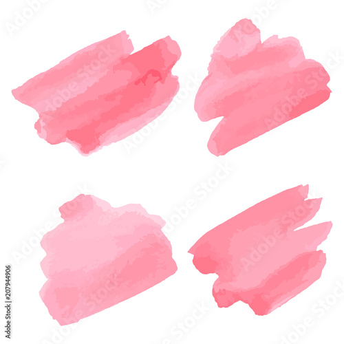 Photo Watercolor brush strokes. Pink aquarelle abstract background