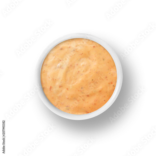 Obraz na plátně Chipotle Ranch salad dressing and dipping sauce isolated on white