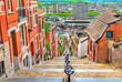 canvas print picture - Montagne de Bueren, a 374-step staircase in Liege, Belgium