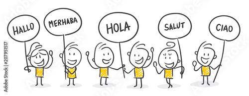 Obraz na plátne Strichfiguren / Strichmännchen: Hallo, Sprache, Fremdsprache
