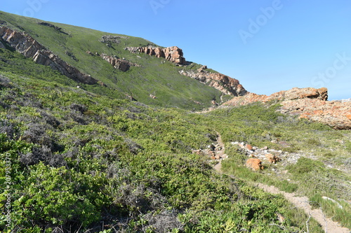 Foto op Canvas Pistache Wonderful landscape at the hiking trail at Robberg Nature Reserve in Plettenberg Bay, South Africa