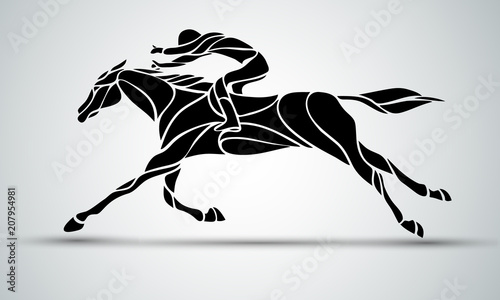 Canvas Print Horse race. Equestrian sport. Silhouette of racing with jockey