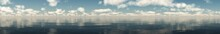 Panorama Of Clouds Over The Ocean, Seascape With Clouds,