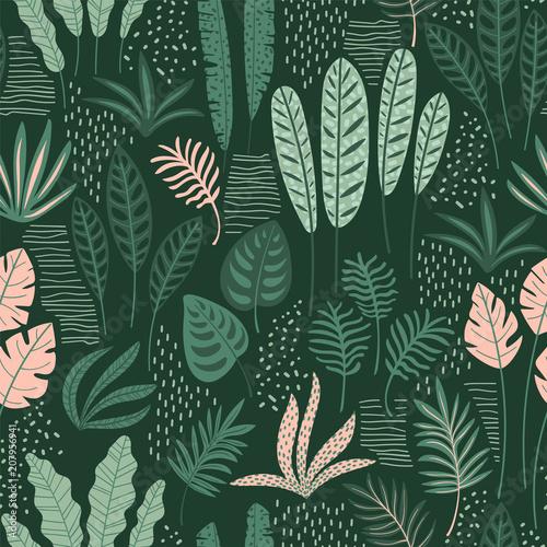 abstrakcjonistyczny-bezszwowy-wzor-z-tropikalnymi-liscmi-recznie-rysuj-teksture