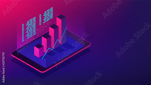 Fotografía  Isometric investment and financial advisory 3d isometric illustration