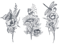 Set Of Three Vector Floral Bou...