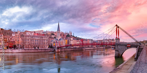Poster Rome Panoramic view of Saint Georges church and footbridge across Saone river, Old town with Fourviere cathedral at gorgeous sunset in Lyon, France