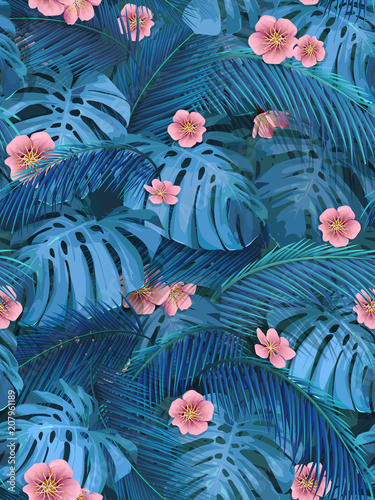 Exotic Leaves And Pink Flowers Seamless Tropical Background For Fabric Wallpaper Of Monstera Banana Palm