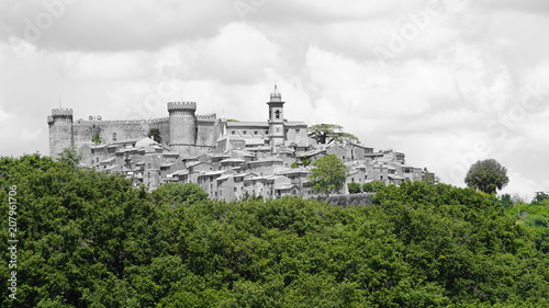 Photo  View of the castle of Bracciano seen from a hill in a sunny day