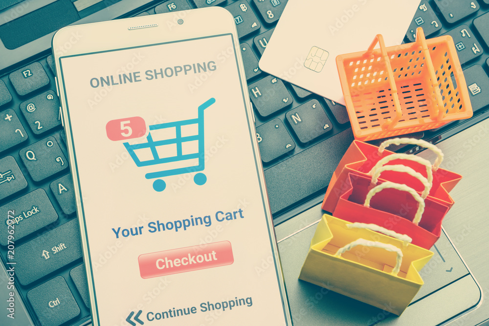Online-Shopping / Einzelhandel E-Commerce und Lieferservice-Konzept ...