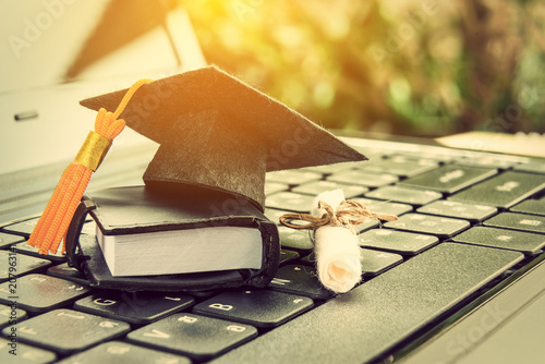 Cuadros en Lienzo  online learning or e-learning and online graduate certificate program concept :