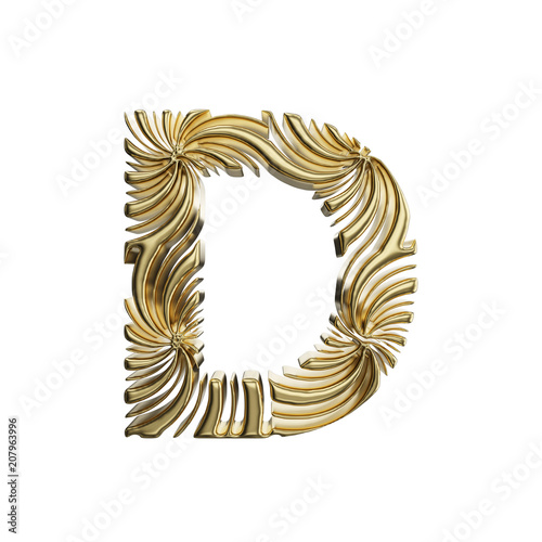 d01ef506155a Alphabet letter D uppercase. Golden font made of shiny yellow metal. 3D  render isolated on white background.