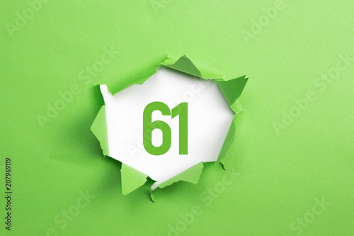 Fotografia  gruene Nummer 61 auf gruenem Papier