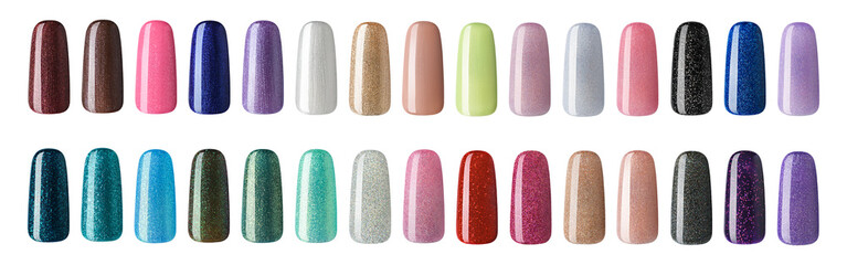 Nail polish in different fashion color. Colorful nail lacquer in tips  isolated white background