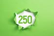 canvas print picture - gruene Nummer 250 auf gruenem Papier