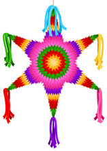 Vector Illustration Of A Brightly-colored, Star-shaped Piñata.