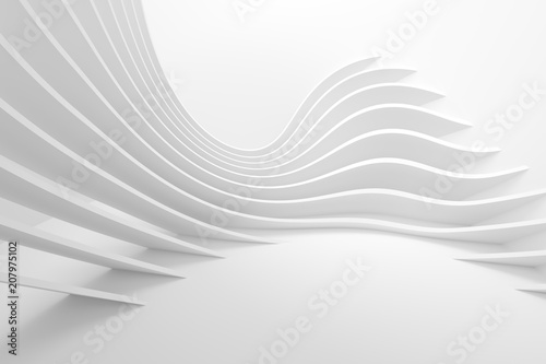 Photo Stands Abstract wave White Architecture Circular Background. Modern Building Design
