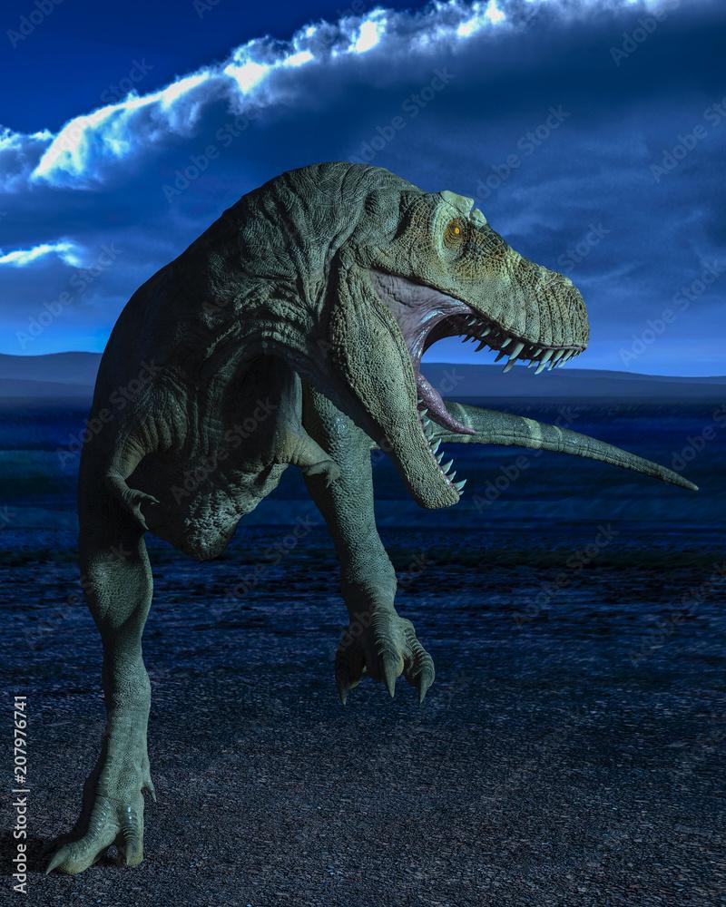 Fotografie, Obraz t-rex in the wild world storm